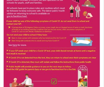 Advice for parents during Covid 19. Sept 2021